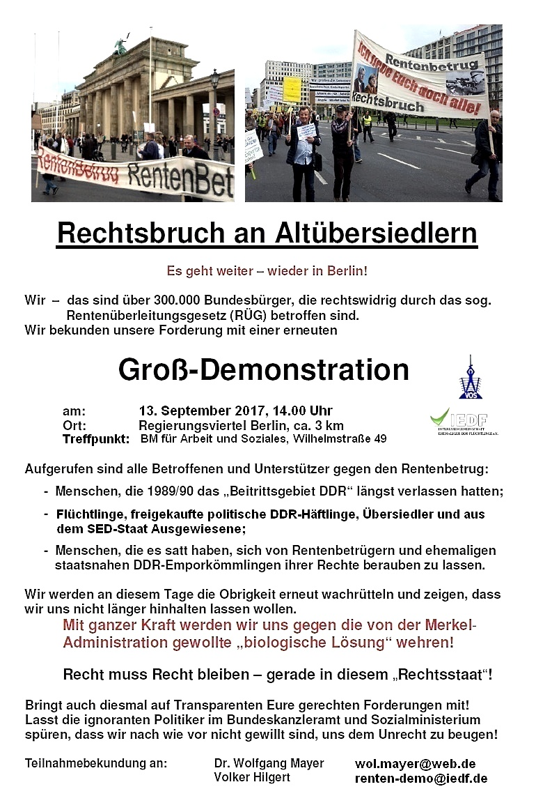 Aufruf 5. Demo am 13. September 2017